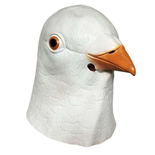 Pigeon Mask (Demi Sharky Novelty Halloween Costume Party Latex Animal Masks Decorations Props Bird Head Pigeon Mask-White)