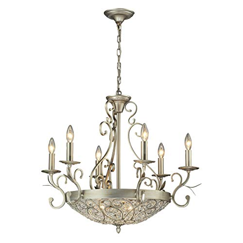 Elk Lighting 11696/6+3 Andalusia Collection 6+3 Light Chandelier, Aged Silver