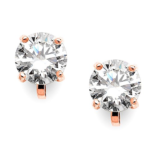 Mariell Cubic Zirconia Crystal Rose Gold Wedding Clip On Stud Earrings for Women, 2 Carat 8mm Round CZ