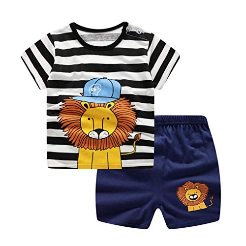 (residentD Infant Baby Boy Clothing Set,Stripe Cartoon Printed Short Sleeve Shirt Top + Shorts Outfit Set(6M-3Y) Navy)