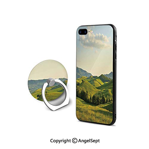 Metal Tuscany Mirror - Protective Case for iPhone 8/iPhone 7 with Ring Holder Kickstand,Tuscany Hills Italy Meadow Greenery Pastoral Rural Scenery Farmland Scenic,Durable Soft Touching,Green Light Blue