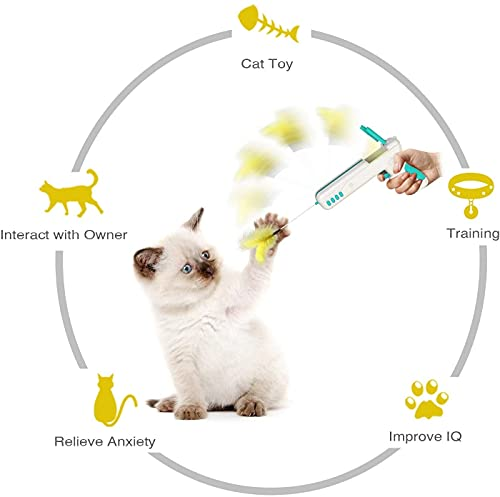 N&J Kelivi Cat Toy Gun,Interactive Cat Toys and Rebound Gun Toys for Kitten Cat Teaser Toys with Ball and Feather for Entertainment and Exercise Cat Toys for Indoor Cats. (Yellow)