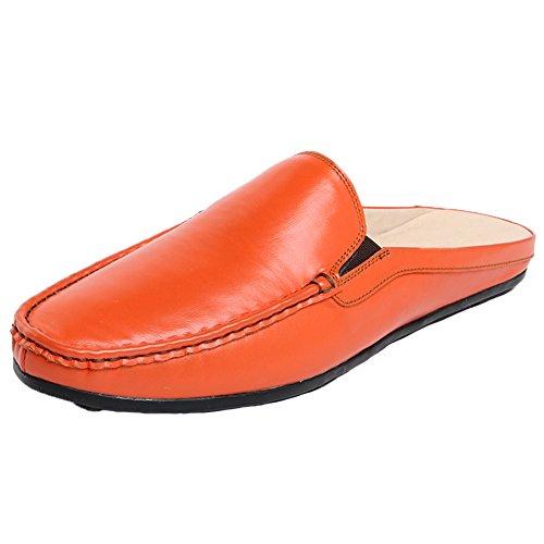 Santimon Muiltjes Slippers Klompen Mannen Comfortabel Gewoon Leren Instapper Schoenen Casual Instappers Oranje