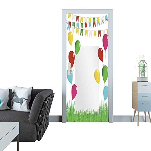 Anmaseven Automatic Door Sticker Greeting Card or Invitation for a Holiday Green Grass and Garland of Colorful Flags and Flying Balloons Vector Free Form for Text Sticker for Door 30x79(77x200 cm)
