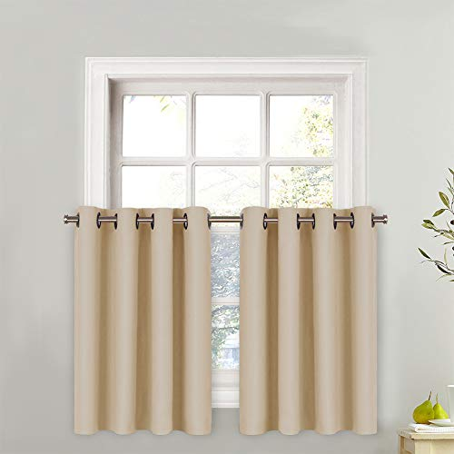 NICETOWN Window Treatment Small Valances - Plain Solid Grommet Top Valance Curtain for Kitchen Window (Biscotti Beige, One Pack, 52 Wide x 36 Long + 1.2 Header)