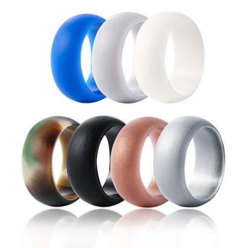 Owlike Silicone Wedding Ring for Men, 7 Pack Silicone Rubber Wedding Band Ring Size 9 10 11 12 13, Protect Finger Safe in Athletic Exercise -Black White Blue Camouflage Coffee Dark Grey Light Grey