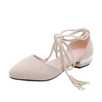 BalaMasa Womens APL11789 Comfort Round-Toe Lace-Up Beige Imitated Suede Block Heels - 2.5 UK (Lable:34)
