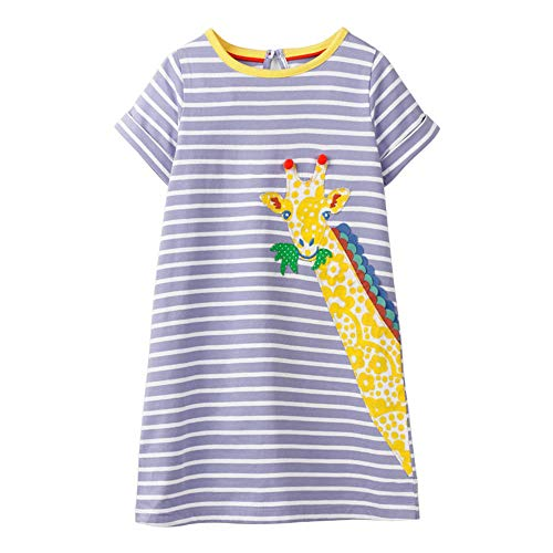 Hongshilian Little Girls Cotton Casual Dress Cartoon Print T-Shirt Short Sleeve Skirt Dresses(6T,Giraffe & Stripe) ()
