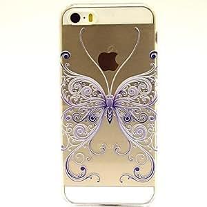 TY- Caso duro del patrón de mariposa azul grande para el iphone 5 / 5s