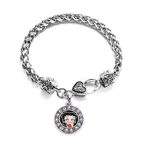 Inspired Silver Betty Boop Circle Charm Braided Bracelet Silver Plated with Crystal ()