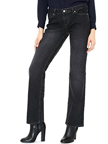 Canyon River Blues Women's Distressed Stretch Jeans - Straight Leg Mid Rise, Faded Blue Black (Black, Size (Canyon Classic Jeans)