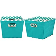 Household Essentials 90-1 Medium Tapered Decorative Storage Bins | 2 Pack Set Cubby Baskets | Aqua Chevron