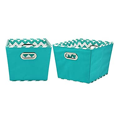 Household Essentials Medium Tapered Decorative Storage Bins, 2 Pack Set, Aqua / Chevron