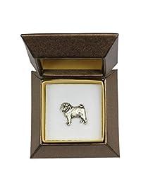 Pug, dog pin, badge, brooch, in box, La broche de chien, badge, Broche, dans la boîte, ArtDog