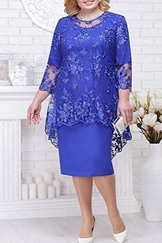 Womens Plus Size Cocktail Dress Overlay Chiffon Mother of The Bride Dress 14W-24W BABYONLINE D.R.E.S.S