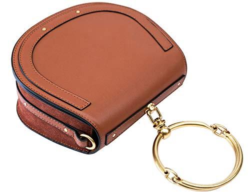 (Branded Genuine Leather Designer Inspired Bracelet Saddle Crossbody Handbags for Women Clearance)