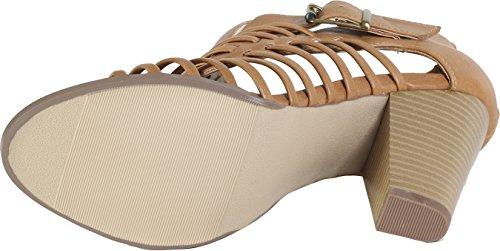 Läcker Genom Soda Womens Föreläsning Utklipp Strappy Peep Toe Sandal Naturliga Pu