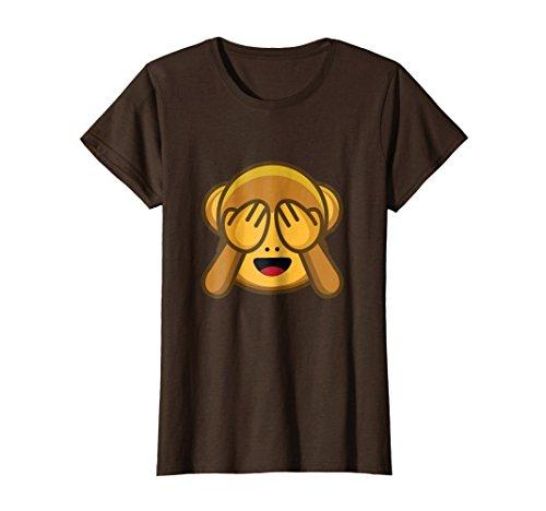 (Womens Funny Monkey shirt Monkey See No Evil Hands Over emoji shirt Large Brown)