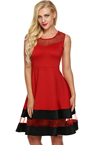 FINEJO Women Sleeveless See-through Organza Patchwork A-Line Evening Party Dress, Red M