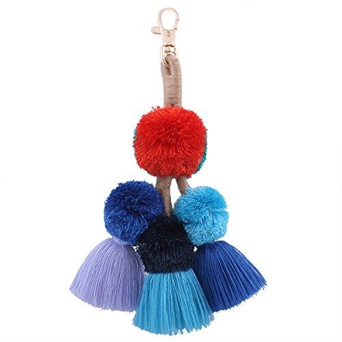 Tassel Pom Pom Key Chain Colorful Boho Charm Key Ring, Fashion Accessories for Women (E-Colorful)