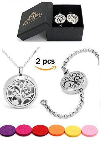 2pcs Premium Aromatherapy Essential Oil Diffuser Necklace and Bracelet Set, Make Her Smile with this Beautiful Nature Inspired Design, Hypoallergenic Stainless Steel, with 12 Color Variety Refill (Lime Crystal Bracelet)