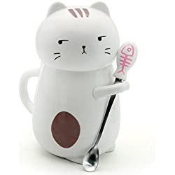 Asmwo Cute 3D Cat Mug Funny Ceramic Coffee Tea Mug with Stirring Spoon and Lid Novelty Birthday Christmas Thanks Giving Gift for Cat Lovers,White 14 oz-B