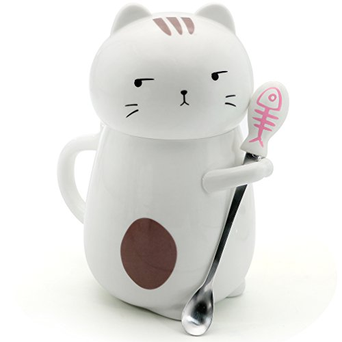 Asmwo Cute 3D Cat Mug Funny Ceramic Coffee Tea Mug With Stirring Spoon And Lid Novelty Birthday Christmas Thanks Giving Gift For Cat Lovers White 14 Oz B