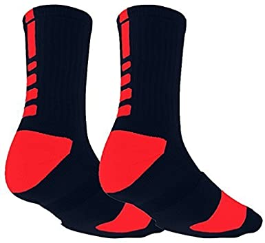 Mens Sports Socks Mid Calf Non Slip Cushion Crew Sports Grip Comprssion Socks with Gripping Rubber Pads for Football, Basketball, Soccer, Cycling, Walking, Running Running (Black)