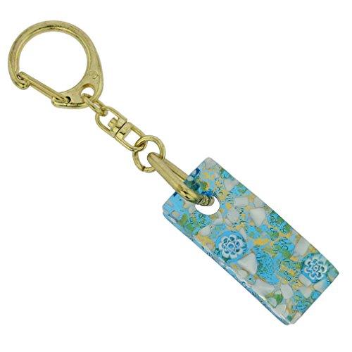 GlassOfVenice Murano Glass Colors Stick Keychain - Aqua Gold