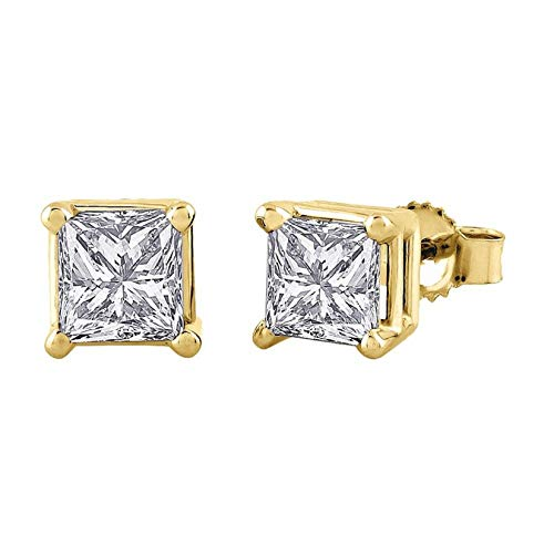 4.0 ct Princess Brilliant Cut Simulated Diamond CZ Solitaire Stud Earrings in 14k Yellow Gold Push Back