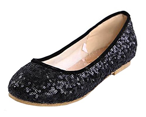 SHOWHOW Women's Comfy Sequins Round Toe No Heel Low Top Slip On Flats Shoes Black 4 B(M) US ()