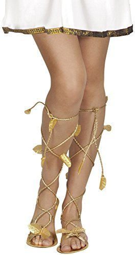 Roman Greek Gold Goddess God Sandals Xena Princess Leaf Venus Ladies Mens Girls Shoes Footwear Fancy Dress Costume Accessory by BOLAND BV