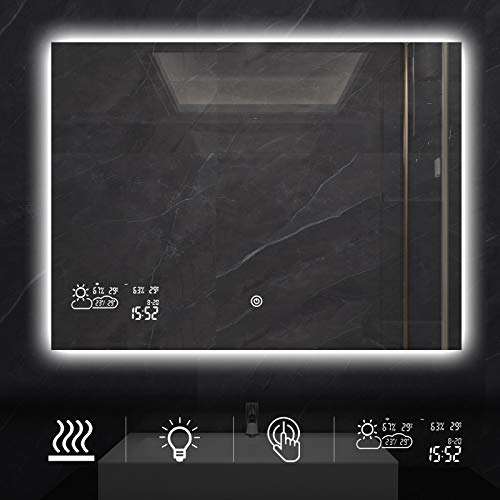 BYECOLD Horizontal Vanity Touch Switch Bathroom Mirror Weather Forecast, LED Illuminate Light -