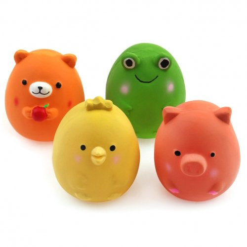 Chiwava 4PCS 2.4'' Squeak Latex Puppy Toy Funny Animal Sets Pet Interactive Play for Small Dog Assorted Color