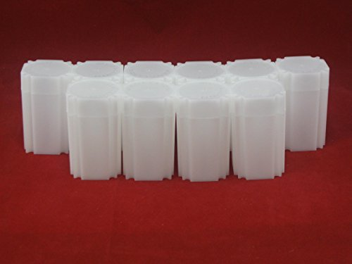(10) Coinsafe Brand Square White Plastic (Medallion) Size Coin Storage Tube Holders, Model: , Office Shop