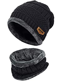 2-Pieces Winter Beanie Scarf Set Warm Hat Thick Knit Skull Cap for Men Women, One Size Black