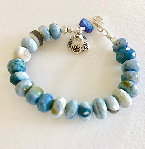 (Blue Oregon Opal Bracelet, Genuine Oregon Blue Opal, Beaded Gemstone Bracelet, Fine Silver Flower, Denim Blue Opal, Flower Bracelet, Sterling Silver.)