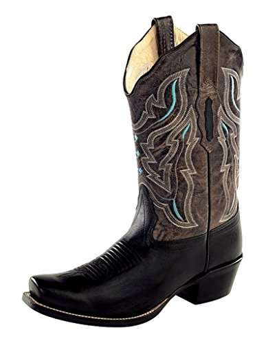 Stitching M West Old Crackle Boots 18008 Womens 6 Square Cowboy Black afqwPqI