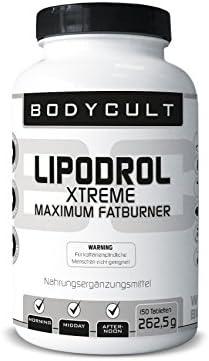 BODYCULT Lipodrol Xtreme Maximum Fatburner | 150 Tabletten | mit Vitaminen & Koffein | zur schnellen Gewichtsabnahme | 50 Tagesportionen