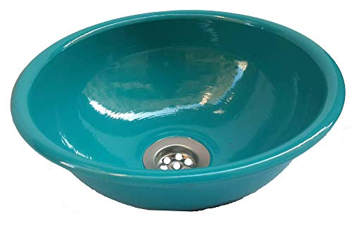 Egypt gift shops Small Ultra Light Weight Metal Hand Wash Bathroom Dome Overmount Drop in Satin Sink Lavatory Basin Boat Yacht Trailer Caravan Blue Aqua Turquoise Bowl Remodel Kitchen Renovation