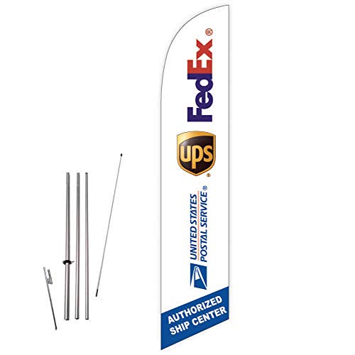 Cobb Promo FedEx UPS USPS Authorized Ship Center (White) Feather Flag with Complete 15ft Pole kit and Ground Spike