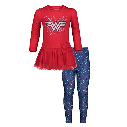 Warner Bros. Wonder Woman Toddler Girls' Long-Sleeve Ruffle Tunic & Leggings Set (3T) -