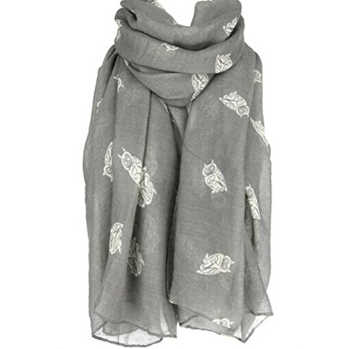 - Clearance Scarf,Han Shi Women Fashion Owl Print Long Cute Shawl Soft Voile Scarves Wraps (Grey, L)