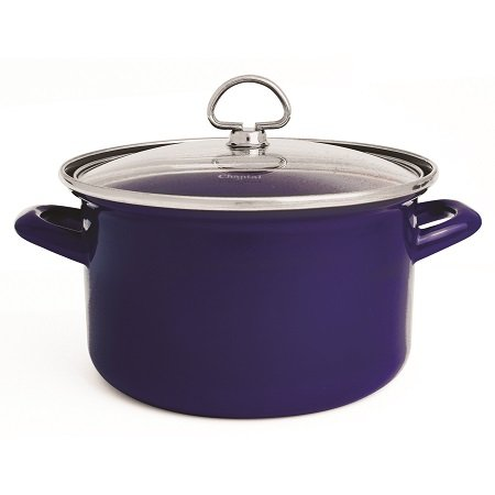 Cobalt Blue Rim Soup - Chantal Enamel-On-Steel 4-Quart Soup Pot with Tempered Glass Lid, Cobalt Blue