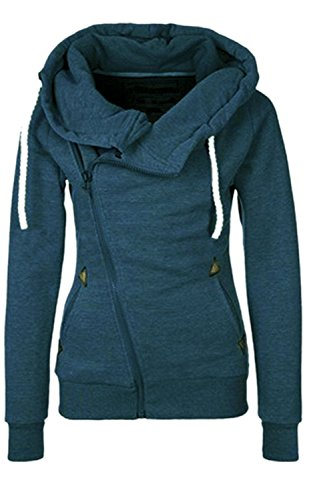 Damen Hoodies Pullover Langarm Casual Jacke Top Winter Sweatshirt Pullover Tops Jumper (M, Blau)