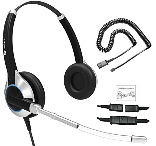 TruVoice HD-350 Deluxe Double Ear Headset with Noise Reduction Voice Tube Including Bottom Cable That Works with Mitel, Nortel, Avaya Digital, Polycom VVX, Shoretel, Aastra, Analog Phones + Many More