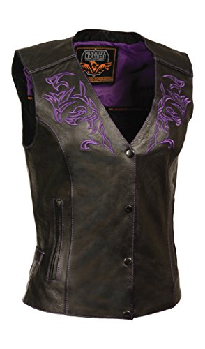 - Milwaukee Women's Leather Vest (Black/Purple, X-Large)