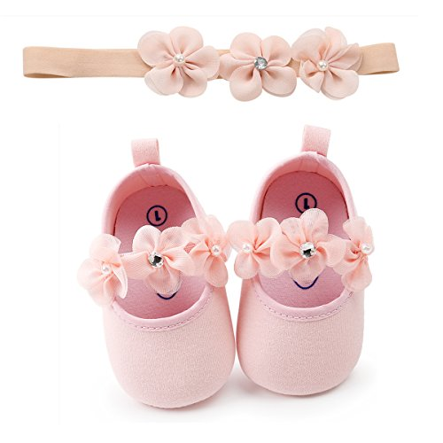 Baby Girls Mary Jane Flats Sparkly Soft Sole Infant Crib Shoes with Headband by RVROVIC (Image #1)