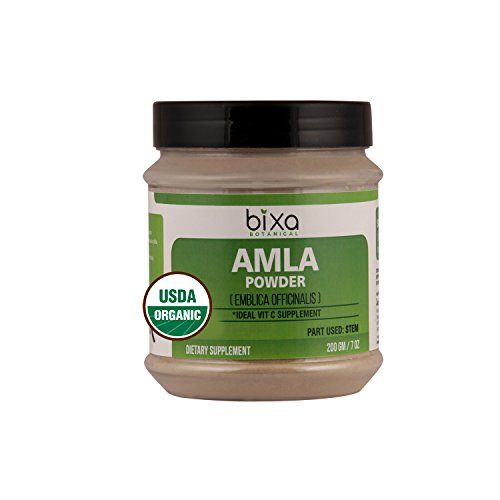 Organic Amla Powder 200g (7 Oz), USDA Certified (Emblica Officinalis) – Idea Vitamin C Supplement | Powerful Anti-Oxidant Herbal Supplement | Re-Energise Generally Weak Body | Immunity Booster