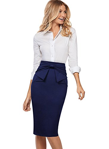 VFSHOW Womens Pleated Bow High Waist Slim Work Office Business Pencil Skirt 865 DBLU XXL -